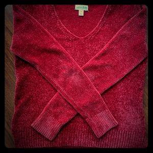 maison jules v-neck chenille red sweater